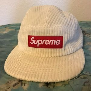 White Supreme Corduroy Camp Cap
